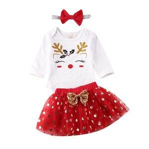 3Pcs Christmas Newborn Baby Girls Clothes Sets Cartoon Print Romper Tops Lace Tutu Skirt Headband Outfits