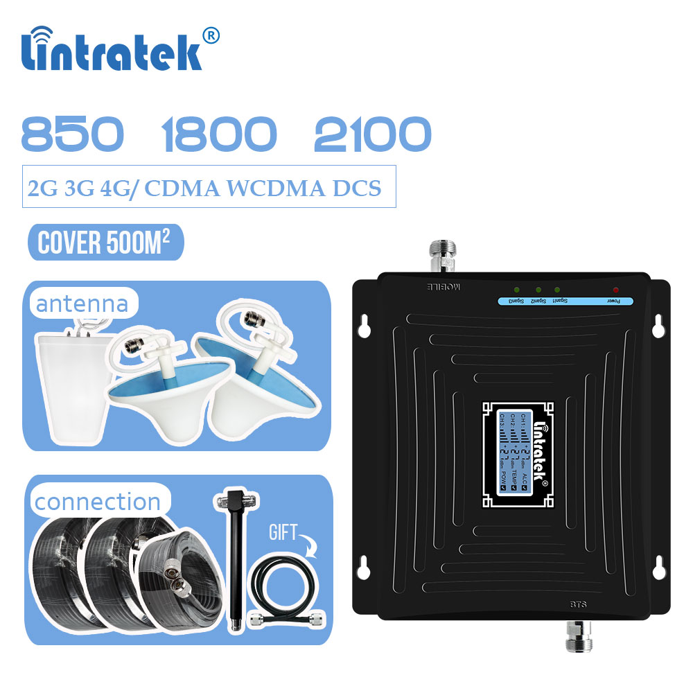 Lintratek 2G 3G 4G LCD Tri Band Signal Booster CDMA 850mhz WCDMA 2100mhz LTE 1800mhz DCS Cellular Repeater Amplifier 2-way Set 7