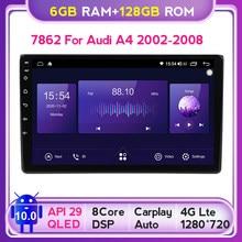 QLED tv ekran Android 10.0 6GB + 128GB Radio samochodowe multimedialny odtwarzacz wideo nawigacja GPS dla Audi A4 B6 B7 S4 B7 B6 RS4 B7 2 Din