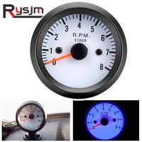 """2 """"52mm 12V bleu LED 0 ~ 8000 tr/min tachymètre de voiture Tach jauge mètre avec capteur pour essence moto camion/ATV tacometro RPM"""