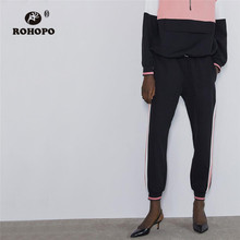 ROHOPO Side Striped Elasticity Waist Patchwork Pink Black Sweat Pencil Pant Autumn Ladies Jogger Trousers #8705