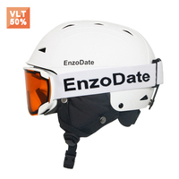 EnzoDate Ski Snowboard Helmet and Matching Winter Sports Goggles Set Snowmobile Protective Anit Fog Windproof Sunglasses