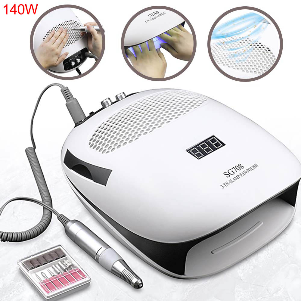 3-IN-1 140W Nail Dust Collector Vacuum Cleaner & UV LED Lamp & Nail Drill Manicure Machine Extractor Fan For Manicure Nail Tools