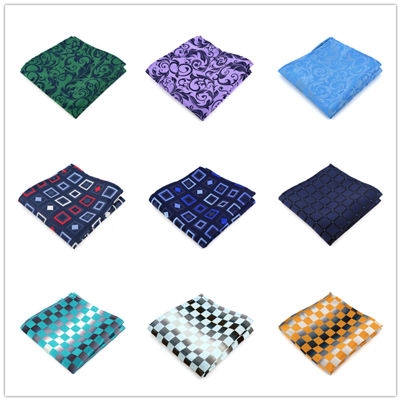 New Mens 100% Silk Handkerchiefs Plaids Stripes Man Pocket Squares For Suits Jackets Wedding Party Business Fashion Gift