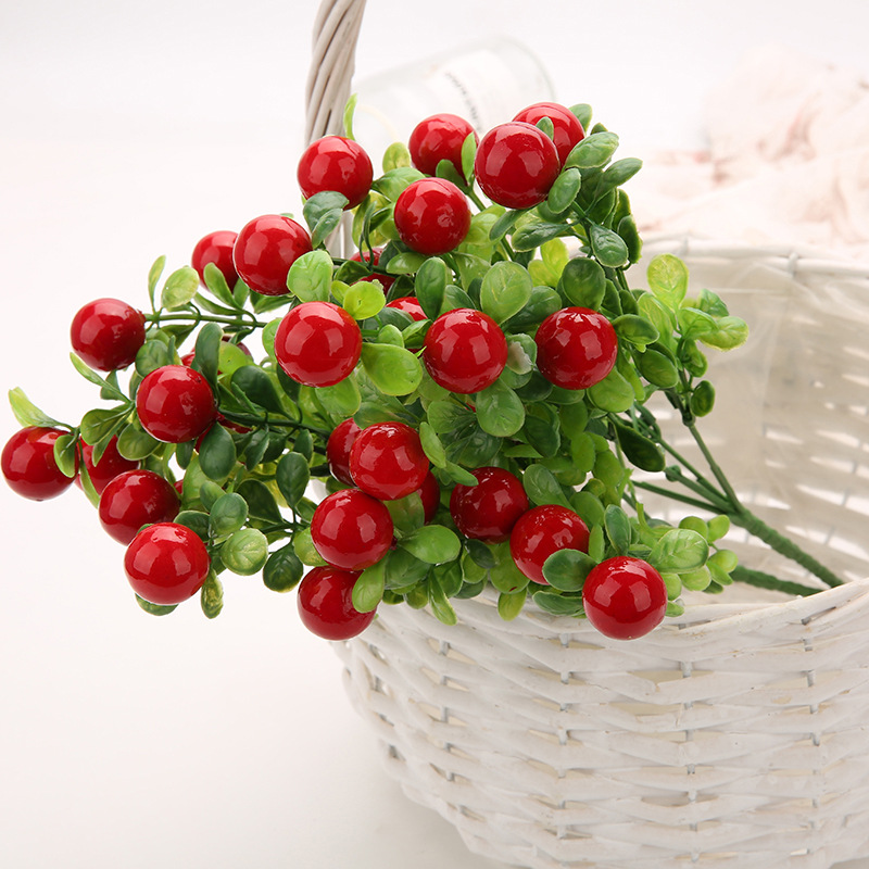 Simulation Green Plant Artificial Wedding Decoration Home Decor Chili Fruits Bunches Landscape Plant Pepper Tree Cherry Tree