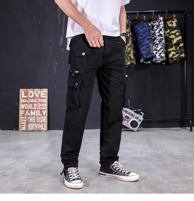KSTUN Men's Cargo Pants Multi-pockets Baggy Side Zippers Men Cotton Pants Casual Outdoors Overalls Tactical Trousers Loose Male Pants 20