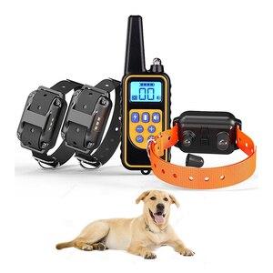 Coleira para adestramento de cachorros  coleira elétrica para adestramento com tela lcd  controle de latidos  recarregável  800m à prova d'água