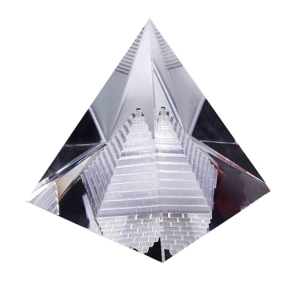 2018 Fashion Artificial Egyptian Clear K9 Crystal Quartz Pyramid Home Office Desk Decoration Wonderful Ornament Gift For Friends