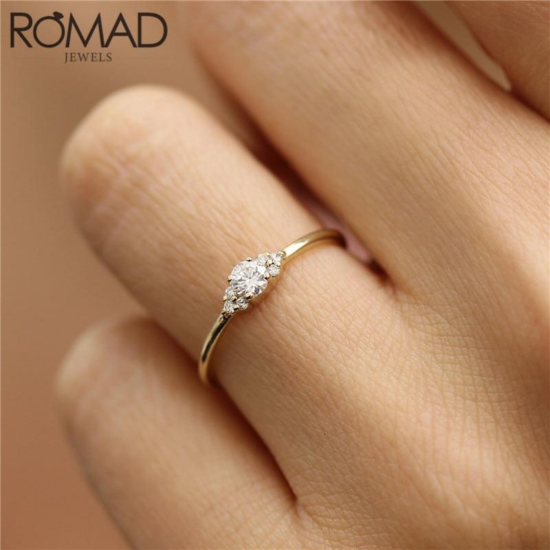 Romad Dainty Zircon Crystal Rings For Women Girls Simple Wedding