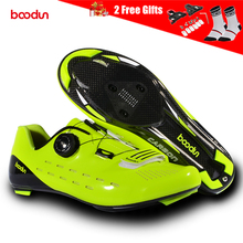 цена на BOODUN Ultralight Carbon Fiber Cycling Shoes Breathable Road Bike Self-Locking Bicycle Shoes Athletic Triathlon Racing Sneakers
