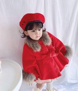 Image 4 - Cape en laine pour petite fille, manteau dhiver en laine, rouge et rose