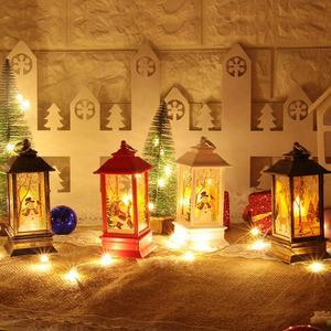 Christmas Light Christmas Santa Claus Snowman Deer Castle Lamp Light Hanging Lantern Decoration Night Light Desktop Decor
