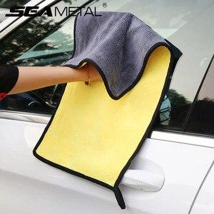 Плюшевое полотенце для чистки автомобиля, толстое супер впитывающее полотенце из микрофибры, очиститель для ухода за автомобилем, аксессуа...