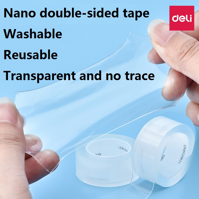 3M 1MM/2MM Nano Magic Tape Double Sided Tape Transparent No Trace Acrylic Reuse Waterproof Adhesive Tape Cleanable Deli33604