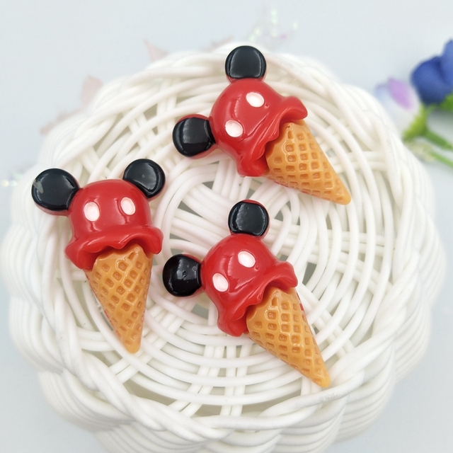 10pcs Mini Mickey ice cream Resin flatback Cabochons Accessories For Hair Clothing Shoes Planar DIY Home Decoration 3