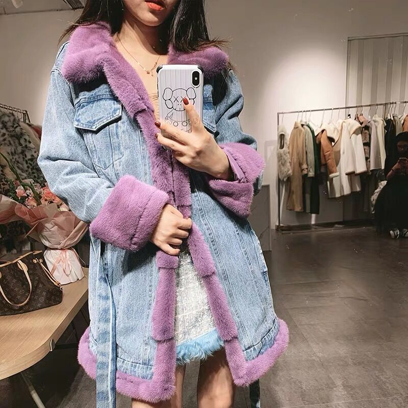 real mink fur coat Denim fur jackets 2019 new fashion down jacket real fur collar luxury parka slim overcoat