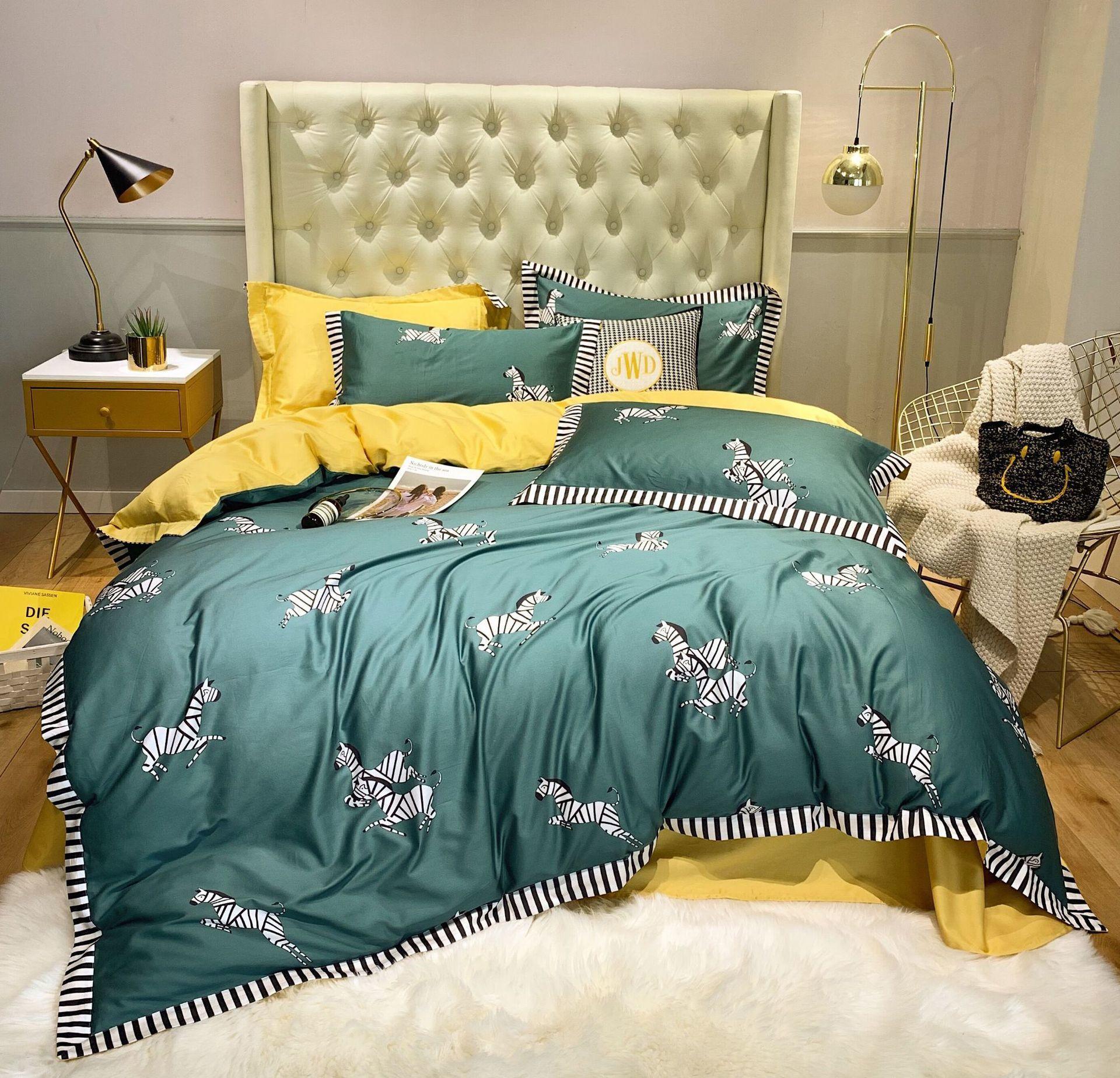 100% puro algodón 2019nuevo juego de ropa de cama de dibujos animados adorable cebra impreso amarillo edredón cubierta de Color sólido gris sábana doble reina rey - 6