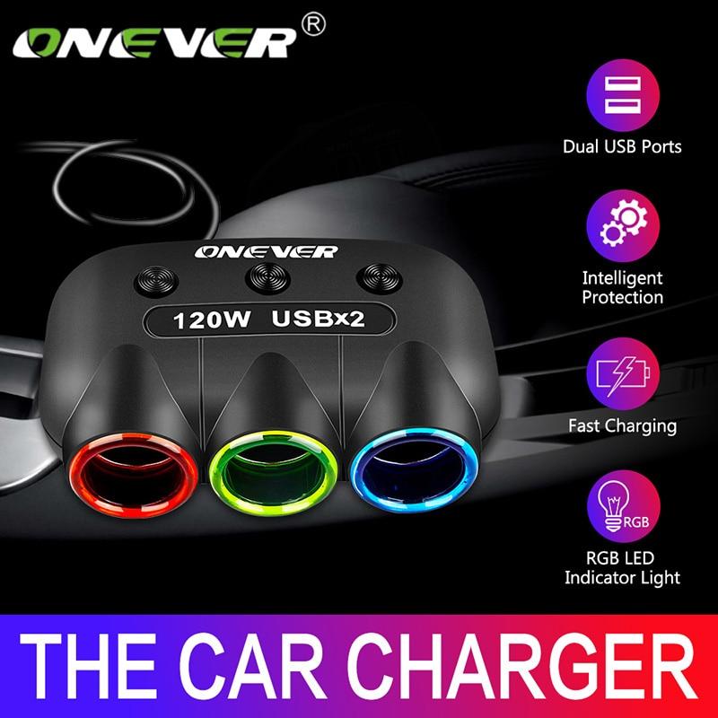 Onever 120W 3 Way Car Cigarette Lighter Socket Splitter 5V 2.1A Dual USB Car Charger 12V-24V Power Adapter Converter With Switch