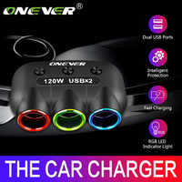 Onever 120W 3 Way Car Cigarette Lighter Socket Splitter 5V 2.1A Dual USB Car Charger 12V-24V Power Adapter Converter with Switch