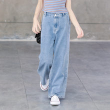 Teenage Girls Jeans 2020 Spring Summer Casual Fashion Loose Blue Kids Leg Wide Pants School Children Trousers 6 8 10 12 Year(China)