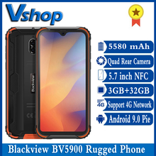 Blackview BV5900 IP68 wytrzymały telefon Android 9 0 Pie 3GB + 32GB 5580mAh wodoodporny telefon komórkowy 5 7 cala NFC 4G telefon komórkowy tanie tanio Nie odpinany CN (pochodzenie) Zamontowane z boku Inne 13MP Nonsupport Smartfony Pojemnościowy ekran english Rosyjski Niemiecki