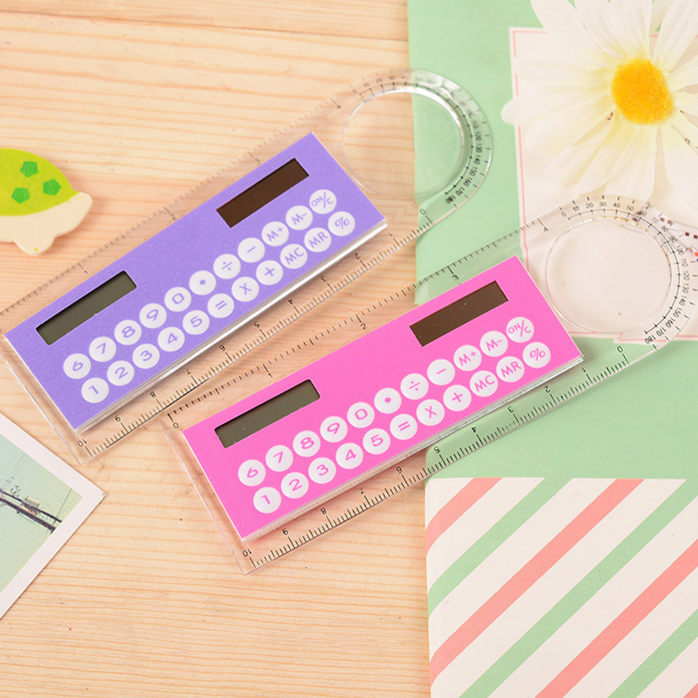 Mini Solar Calculator Fashion Multifunction 10cm Ruler School Office Student Ruler Calculadora Schools & Office Supplies