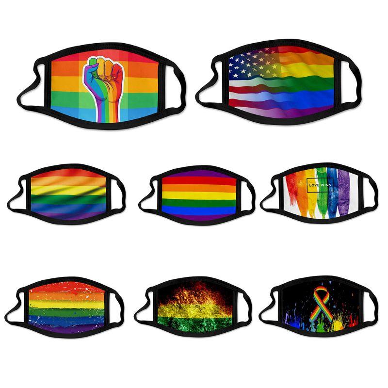 Для взрослых и детей Радужный Флаг ЛГБТ геи Лесбийский флаг маска для полости рта в радужную полоску с принтом «мороженое шелк моющиеся ...