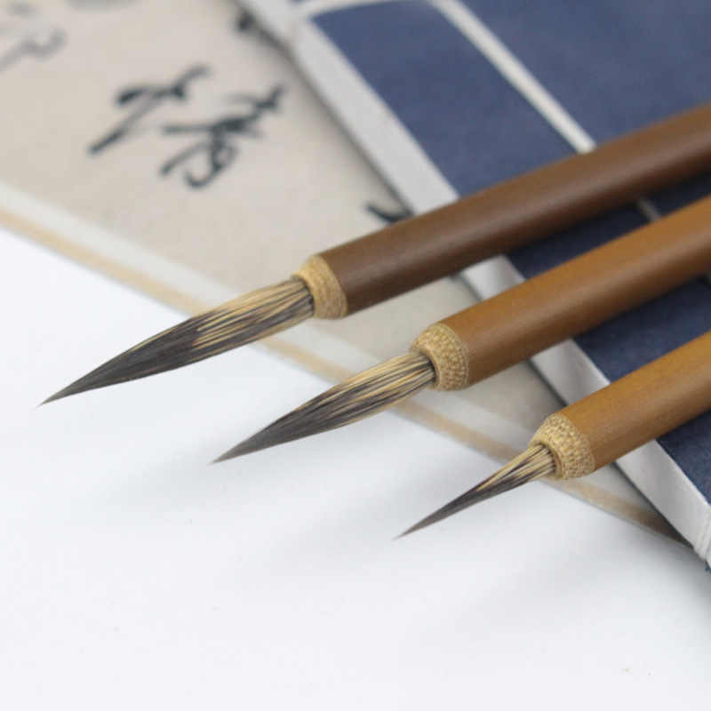 1PC 毛のフックラインファインペイントブラシ中国書道ペイントブラシアート静止油絵ブラシ