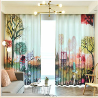 Customized curtains, bay windows French windows thickened shading sound insulation 3d curtains