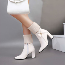 women mid-calf boots high heels autumn warm shoes woman  pointed toe PU leather booties wxz137 цены онлайн
