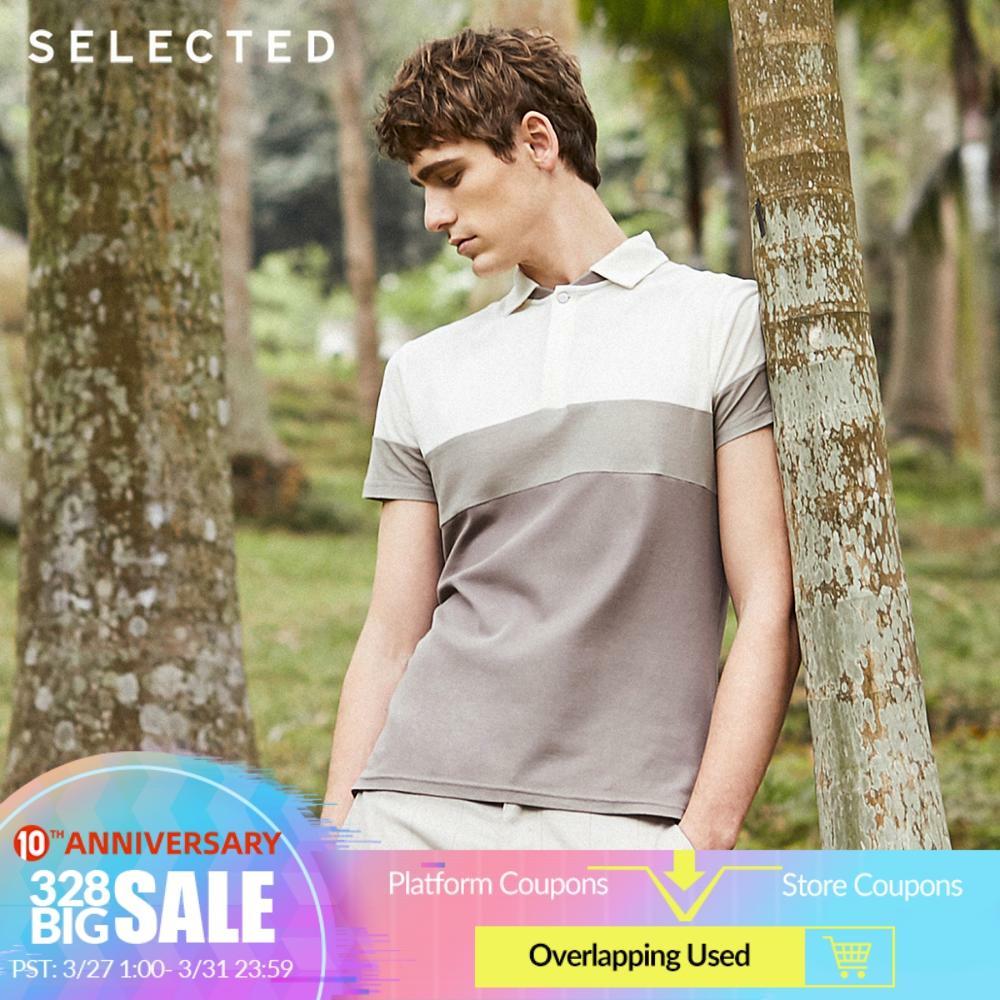 SELECTED Men's 100% Cotton Turn-down Collar Short-sleeved Poloshirt S|41823Z517