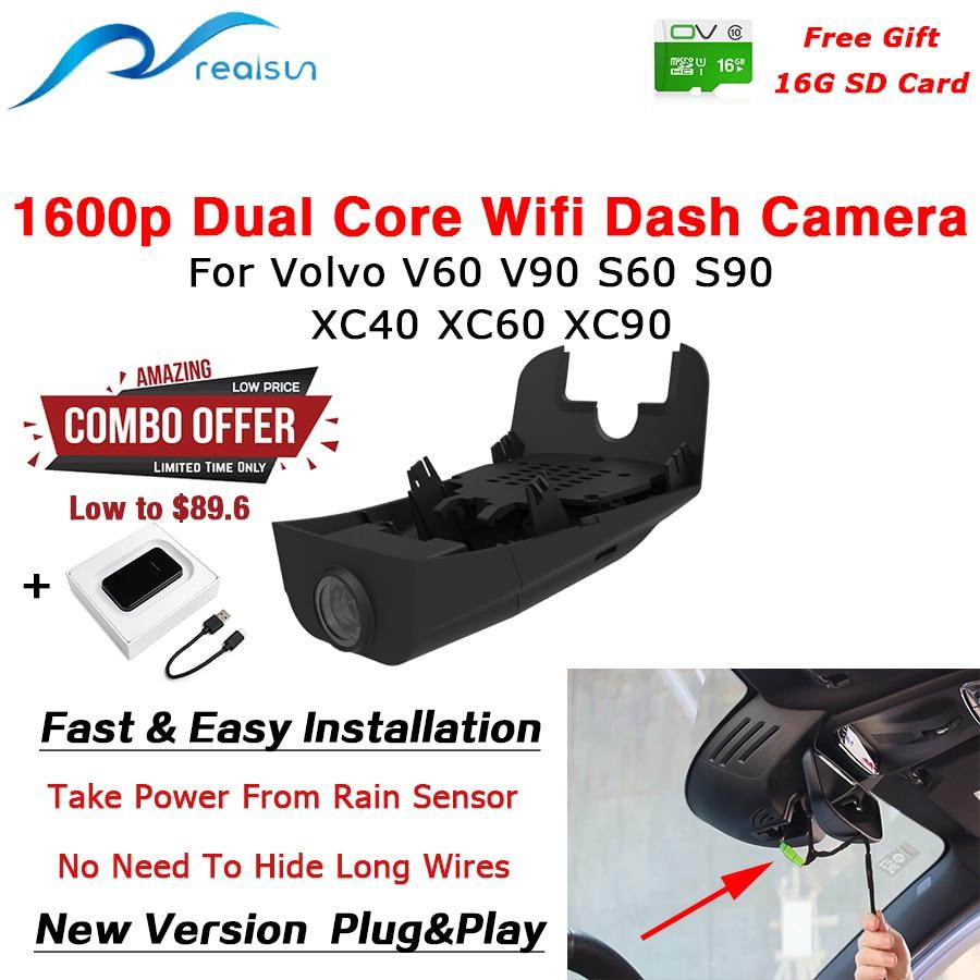 Автомобильный видеорегистратор Realsun 1600P двухъядерный Novatek 96675 Wifi видеорегистратор для Volvo V40 V60 V90 S60 S90 XC40 XC60 XC90