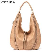 CEZIRA yeni moda kadın çanta yumuşak bayanlar PU deri omuz çantaları oymak büyük kadın Hobos fermuar püskül Tote çanta