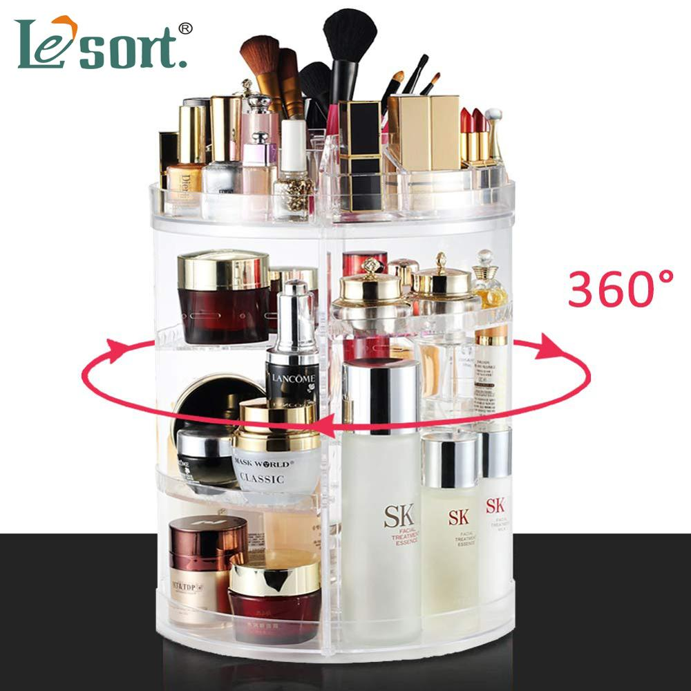 360-degree Rotating Makeup Organizer Brush Holder Jewelry Organizer Case Jewelry Makeup Cosmetic Storage Box Shelf