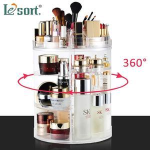 Image 1 - 360 degree Rotating Makeup Organizer Brush Holder Jewelry Organizer Case Jewelry Makeup Cosmetic Storage Box Shelf