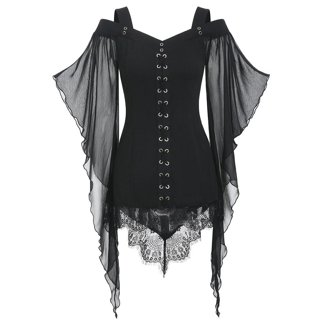 2019 Autumn Hot Women s Slim Dress Vestido dress Gothic Criss Cross Lace Insert Butterfly Sleeve T-shirt Plus Size Tops