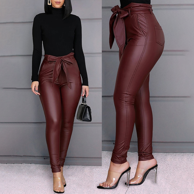 Spring Women Pu Leather Pants Black Sexy Stretch Bodycon Trousers High Waist Long Casual Pencil S-3XL Winter 4
