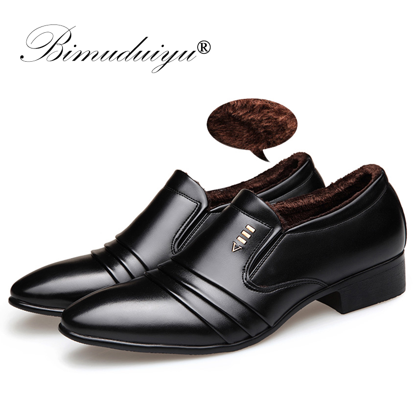 BIMUDUIYU  brand PU Leather Fashion Men Business Dress Loafers Pointy Black Shoes Oxford Breathable Formal Wedding Shoes