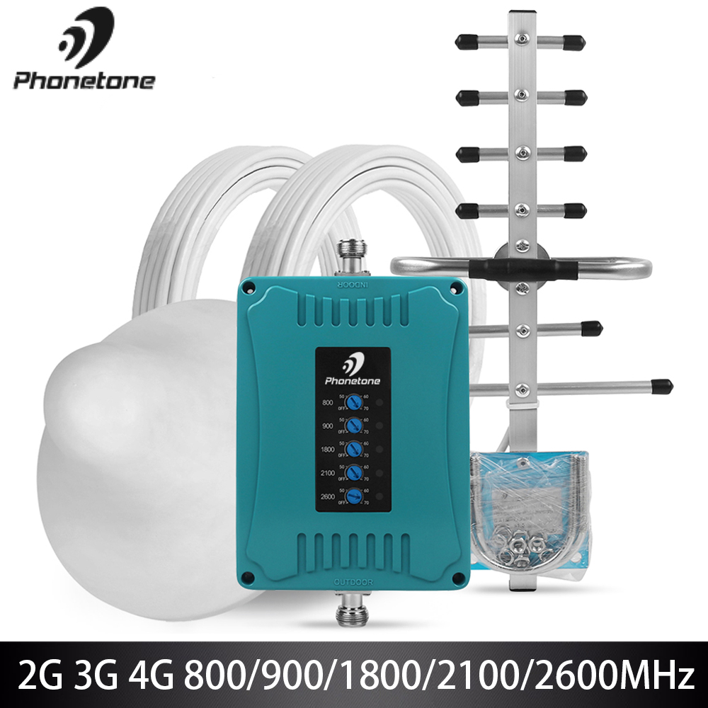 2G 3G 4G Cellular Signal Amplifier Five Band 800/900/1800/2100/2600MHz Mobile Signal Booster 70dB GSM 4G Lte Signal Repeater Set