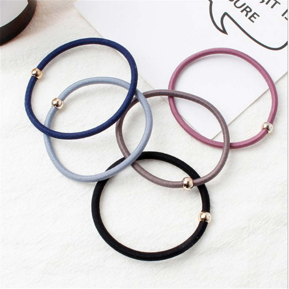 10PCS/Lot Hair Bands Women Basic Colorful Rubber Golden Ball Elastic  Ponytail Holder Lady Rubber Bands Tie Gum Hair Accessories