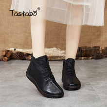 Women's Shoes Lady Boots Brown Handmade Retro-Style Black Original Tastabo S3079 Soft-Bottom