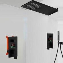 BAKALA 욕실 LED 샤워 세트 두 가지 기능 LED 디지털 디스플레이 샤워 믹서. 숨겨진 샤워 꼭지 강우량 샤워 헤드