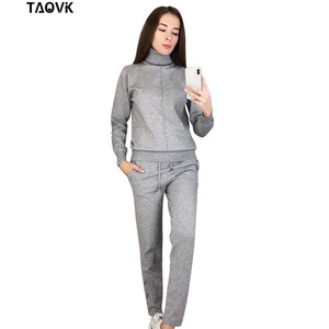 Image 3 - TAOVK Womens knitted Suits Spring sweater set Mid Line Turtleneck Pullover Sweater Pants two pieces Sets warm Jogging Costumes