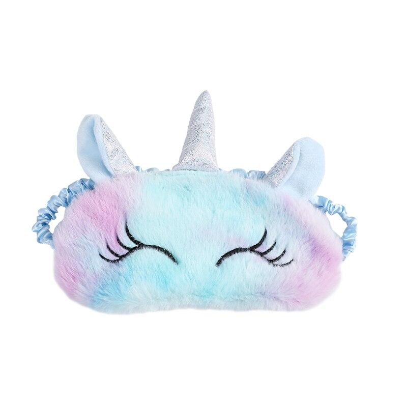 Student Unicorn Eye Band Kids Cartoon Plush Eye Blindfold Fur Unicorn Sleeping Mask Travel Color Women Cute Eye Cover Girl Gift