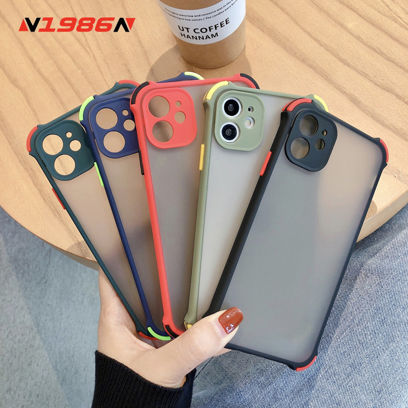 N1986N For iPhone 11 Pro X XR XS Max 7 8 Plus Phone Case Luxury Contrast Color Shockproof Matte Hard PC Phone Case For iPhone 11