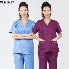 Hospital Doctor Surgery Male Ladies Cotton Medical Uniform Nursing Service Spa Surgery Clothes Korean Hand Sanitizer Short