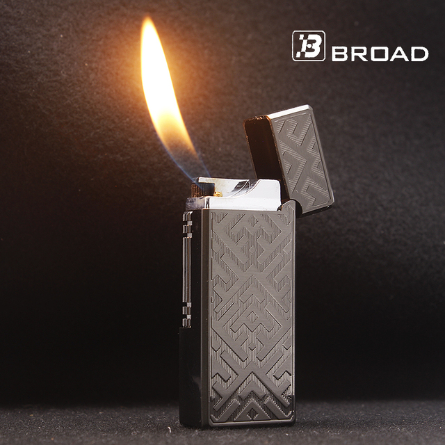 BROAD Buy Gold Lighter Flints Gas Lighter Pipe Electronic Cigarettes Smoking Accessories Lighters Mini Metal Lighters