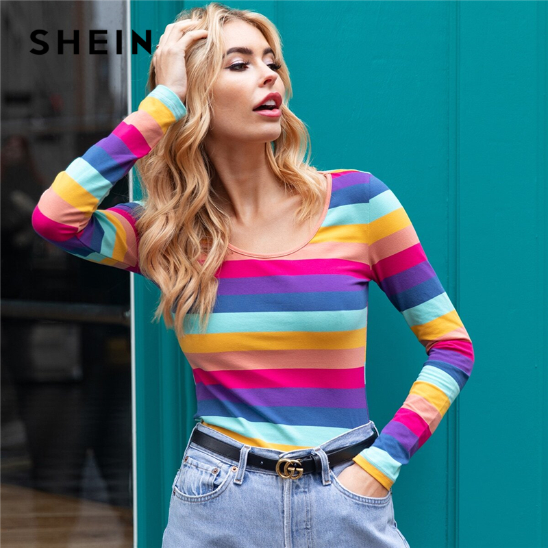 SHEIN Multicolor Contrast Binding Scoop Neck Striped Tee Top Women Spring Long Sleeve Basics Casual T-shirts 1