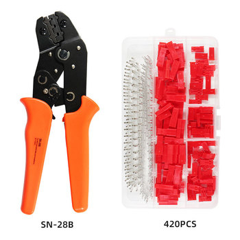 sn-28b+420pcs 2.54mm JST SYP 2-Pin Female & Male Red Plug Housing Crimp Terminal Connector Kit Pin Way Cable Plug tool plier set 560pc 2 54mm jst xhp 2 3 4 5 pin housing with 2 54mm jst xh male female pin header dupont wire connector kit