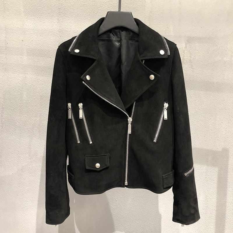 滑走路ファッション女性高級シープ革ジャケットゴシック刺繍スパンコールスエード革ショートコート男モトジャケット
